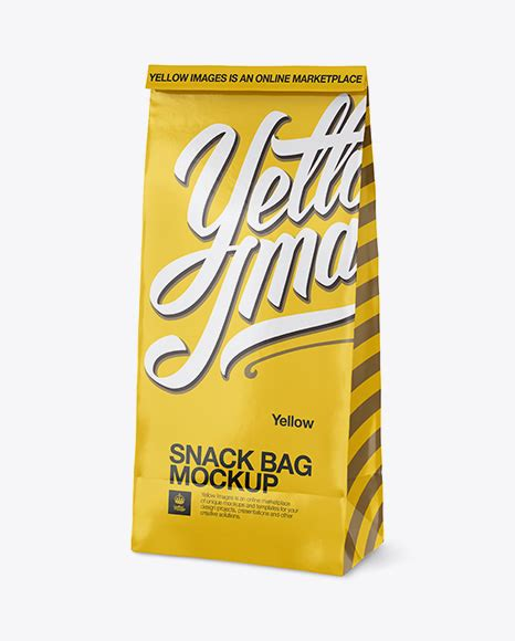 4k resolution and fully customisable. Glossy Paper Bag Mockup - Half Side View - Glossy Snack ...