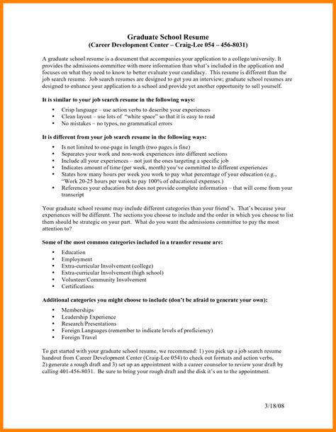 Graduate Cv Template by Cv Sle For Graduate School Take The Next Step To