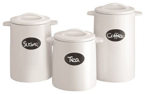 contemporary kitchen canister sets chalkboard canisters set of 3 white contemporary