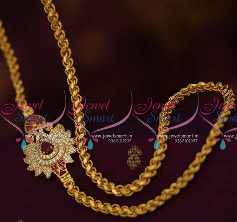inches twisted design chain peacock ruby mugappu
