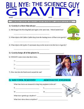 of gravity worksheet bill nye the science gravity forces motion