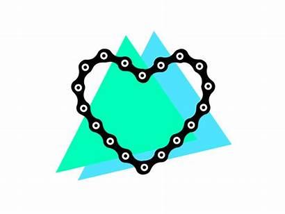 Chain Heart Bike Dribbble Cartoon Animated Cycling