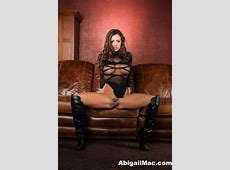 Abigail Mac In Sexy Black Getting Naked On The Couch