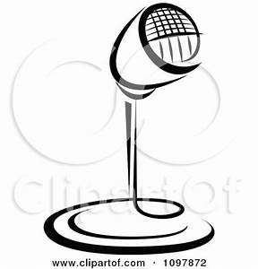 Clipart Black And White Retro Radio Desk Microphone 5 ...