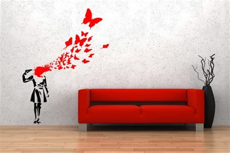 banksy style suicide butterfly girl art decoration wall