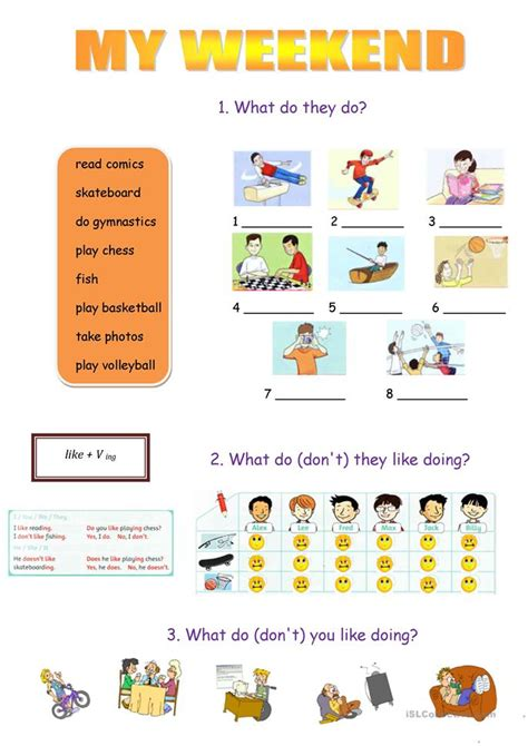 weekend worksheet  esl printable worksheets