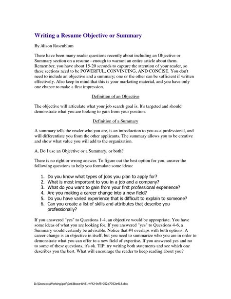 Objective And Resume Summary Or Outline by Thesis Sle Objectives