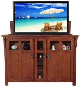 Flat Screen Lift Cabinet by Bungalow Mission Oak Tv Lift Cabinet For Flat Screen Tvs