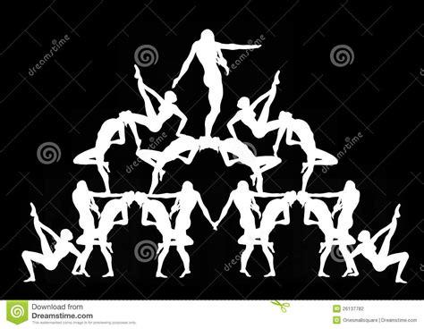 Human Pyramid In Black Stock Illustration. Image Of