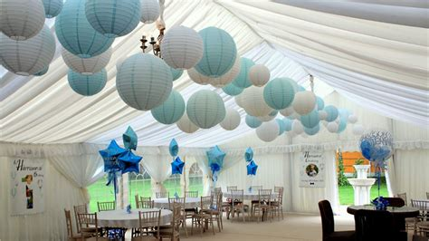 blue christening decorations baby blue lanterns decorate christening and 1st birthday