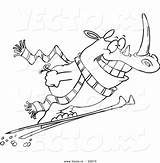 Ski Coloring Slope Skiing Pages Cartoon Template Outline Rhino Sketch sketch template