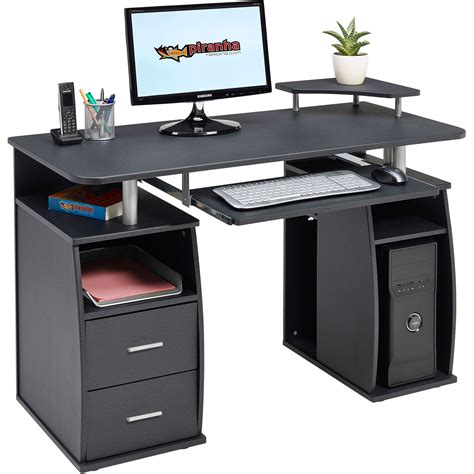 safety bureau computer desk with shelves cupboard drawers for home