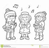 Choir Coloring Christmas Singing Children Dreamstime Illustrations Song Illustration Vectors Boys sketch template