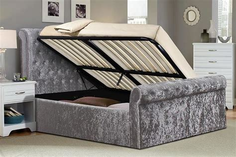 Ottoman Sleigh Bed by Crushed Velvet Sleigh Ottoman Storage Bed With Mattress