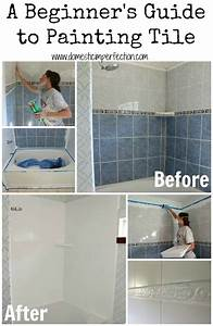 How to refinish outdated tile yes i painted my shower for Paint for tile in bathroom