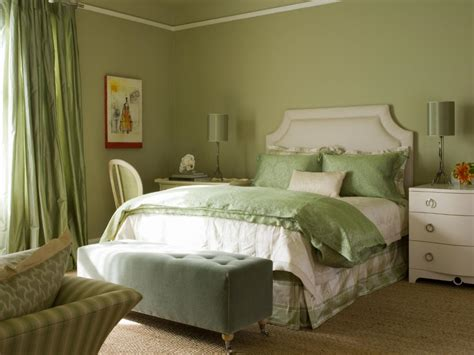 Sophisticated Bedroom In Shades Of Green And White