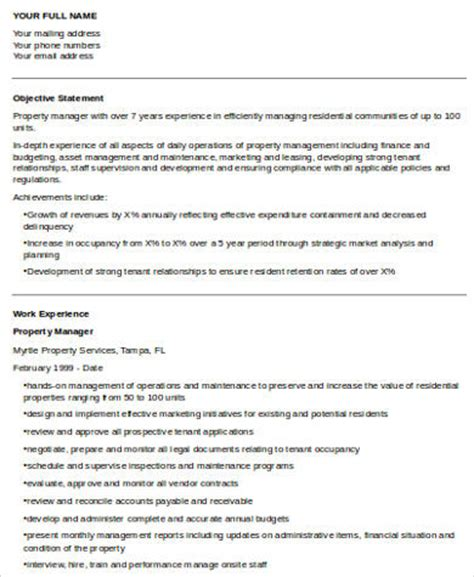 Property Manager Resume Accomplishments by Sle Property Manager Resume 8 Exles In Word Pdf