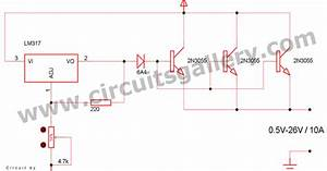 High Current Adjustable Power Supply Circuit Using Lm317