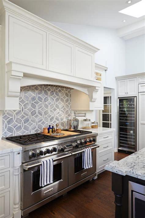 geometric tile backsplash adds modern flair  white