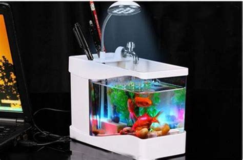 aquarium bureau home and office gift 3 in 1 mini fish tank usb aquarium