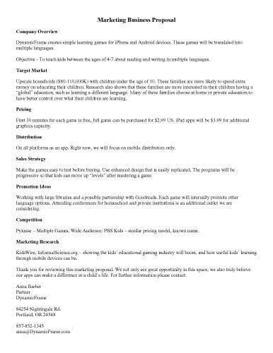 sample proposal templates  microsoft word hloom