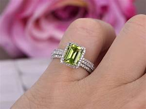 998 emerald cut peridot engagement ring bridal trio sets for Peridot wedding ring set