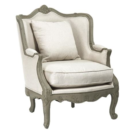 arm accent chair adele country rustic white cotton arm