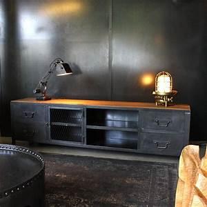 Meuble Tv Industriel : meuble tv industriel sur mesure les nouveaux brocanteurs ~ Preciouscoupons.com Idées de Décoration