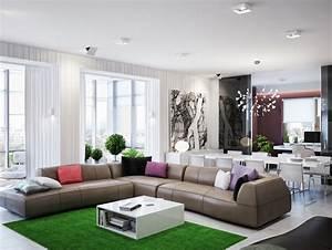 Green brown living room l shaped sofa interior design ideas for Interior decorating l shaped living room