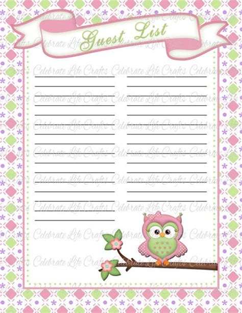 baby shower guest list template   sample