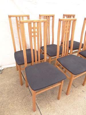 6 modern teak high back dining room side chairs set