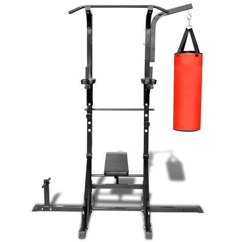 chaise romaine fitness tower pro power tower with sit up bench and boxing bag vidaxl com