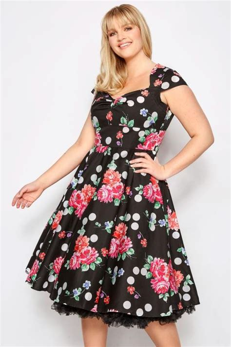 hell bunny spot carole flores floral lunares vestido negro clothing inline sizes tap outfit