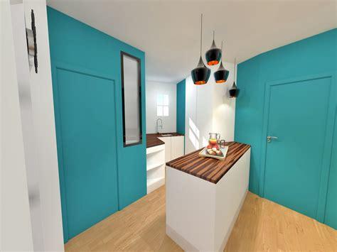 salle de bain ouverte dans chambre aménagement gain de place suppression couloir pour cuisine