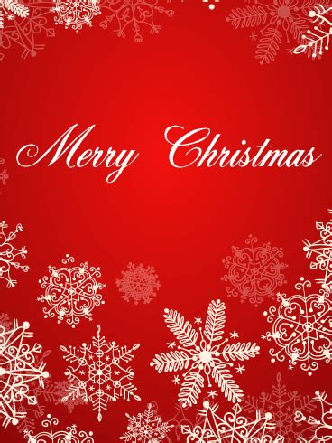christmas white snowflakes card birthday greeting