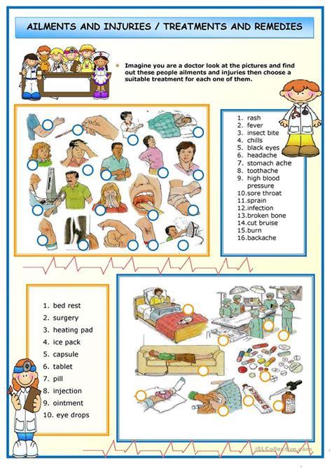 ailments  injuries worksheet  esl printable