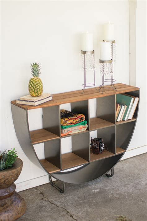 semi circle console  recycled wood shelves