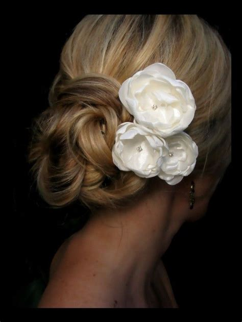 kate bridal hair flowers ivory satin flowers