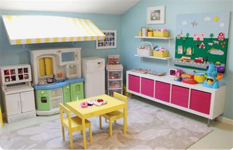 Organizing A Playing Nook With Colorful Kids Kitchen Set From Ikea