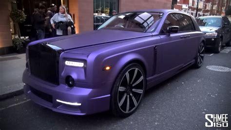 purple mansory rolls royce phantom  london youtube