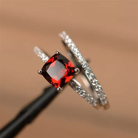 garnet engagement rings cushion cut promise ring gemstone