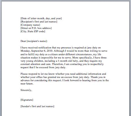 excuse letter for school exle of jury duty excuse letter from employer marilyn