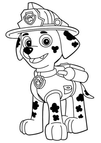 disegno  paw patrol marshall da colorare disegni da
