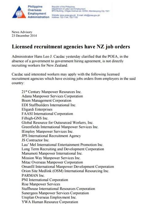 26 poea accredited agencies for new zealand apply to these agencies