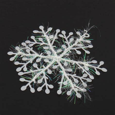 white 3pcs plastic christmas large snowflake ornament tree