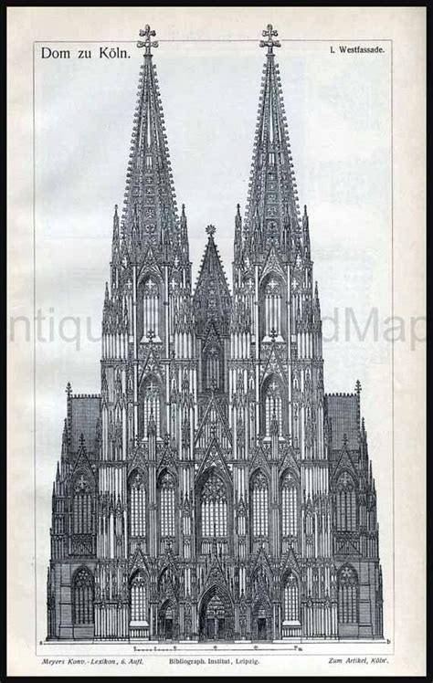 architectural drawing cathedral  cologne germany gothic