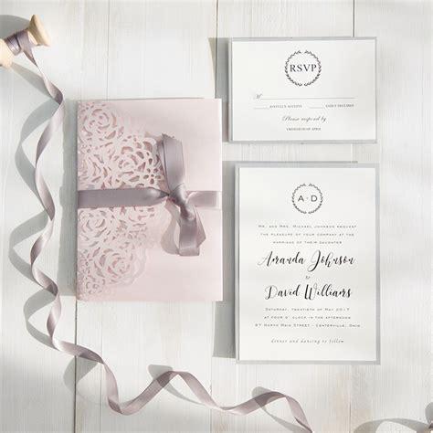 blush wedding invitations blush pink and gray laser cut pocket wedding invitations 1989