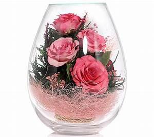 Rosen Im Glas : pur fleur echtblumen rosen im ovalen glas h ca 18cm page 1 ~ Eleganceandgraceweddings.com Haus und Dekorationen