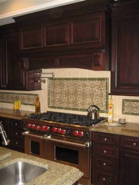 Cherry Raised Panel Cabinetry with Traditional Wood Hood