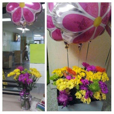 for administrative assistants day 5 bouquets vases balloons and shiny pink ribbon from